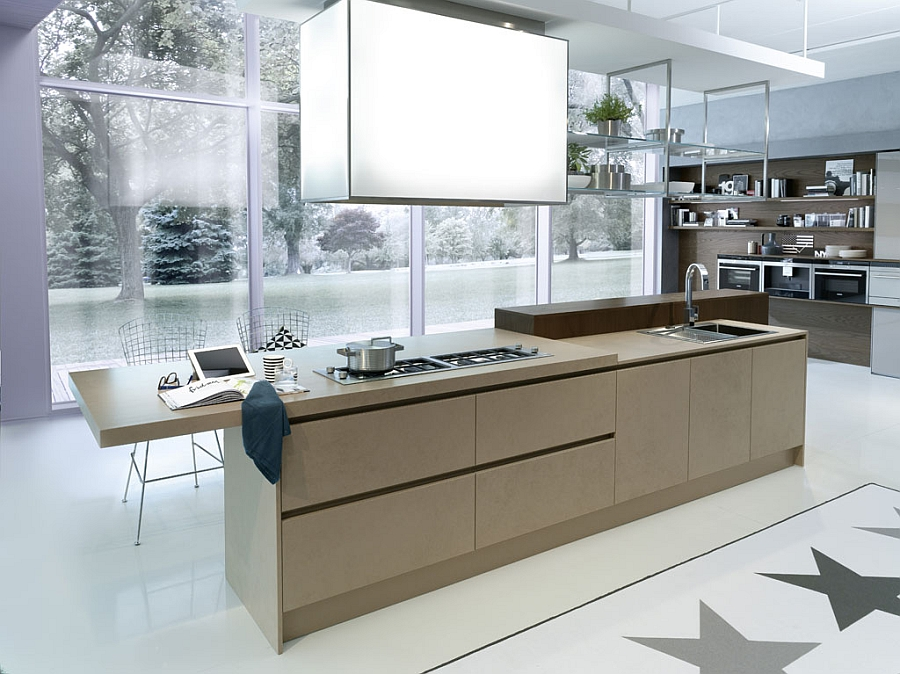 Smart hood above the kitchen island adds to the appeal of the modern kitchen