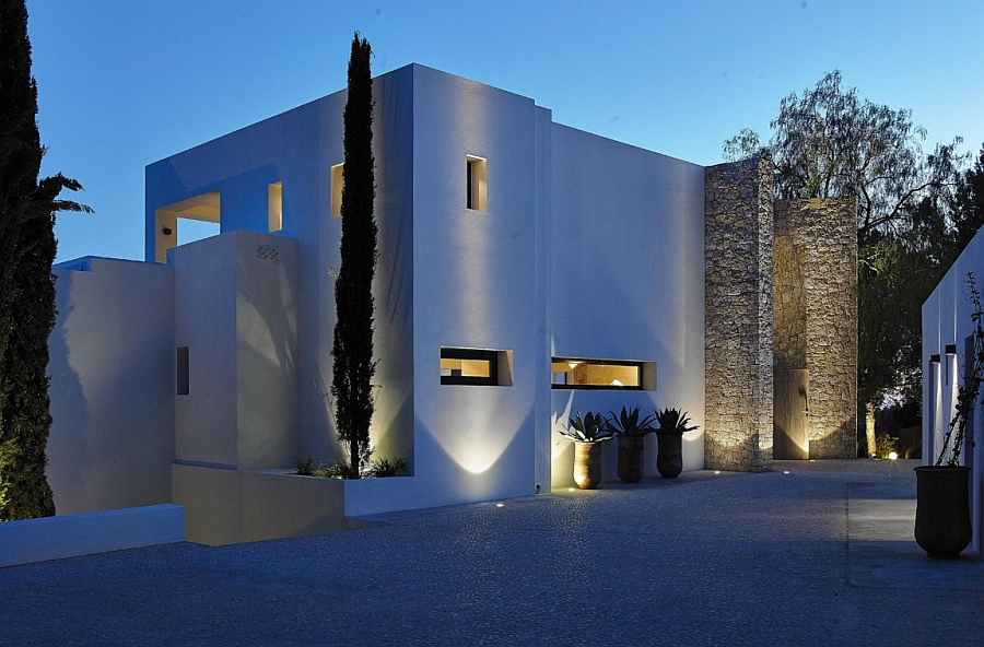Smartly lit entranceway to the luxurious Ibiza Villa