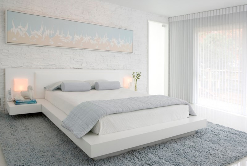 Soothing bedroom with modern art