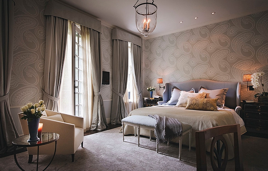 Sophisticated bedroom presents a cool blend of masculine and feminine styles [By Brett Design]