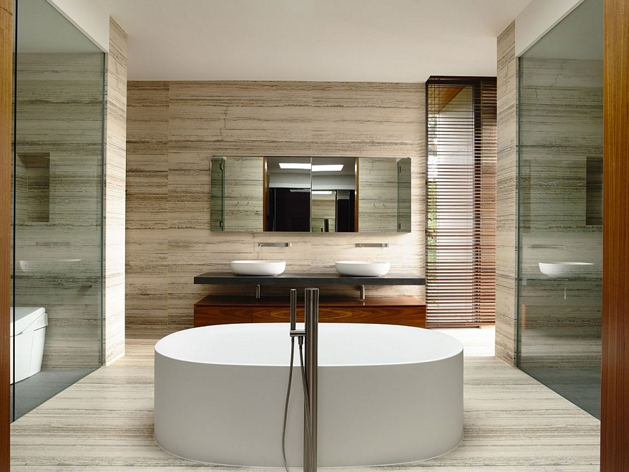 Spa-like contemporary bath with freestanding tub