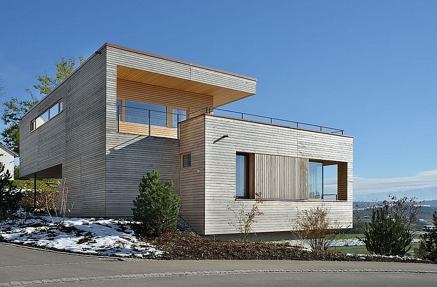 Street facade of the beautiful contemporary family home in Weinfelden, Switzerland