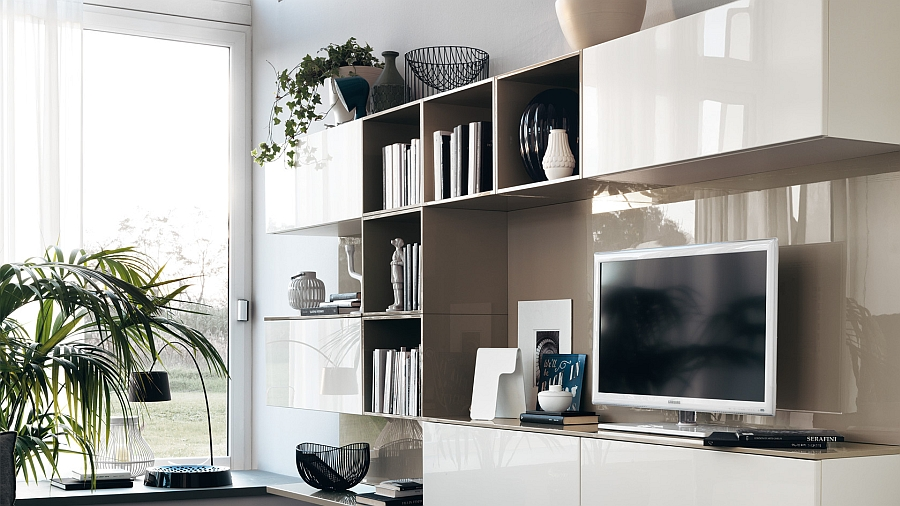 Stylish and simple open wall units used for custom living room wall unit