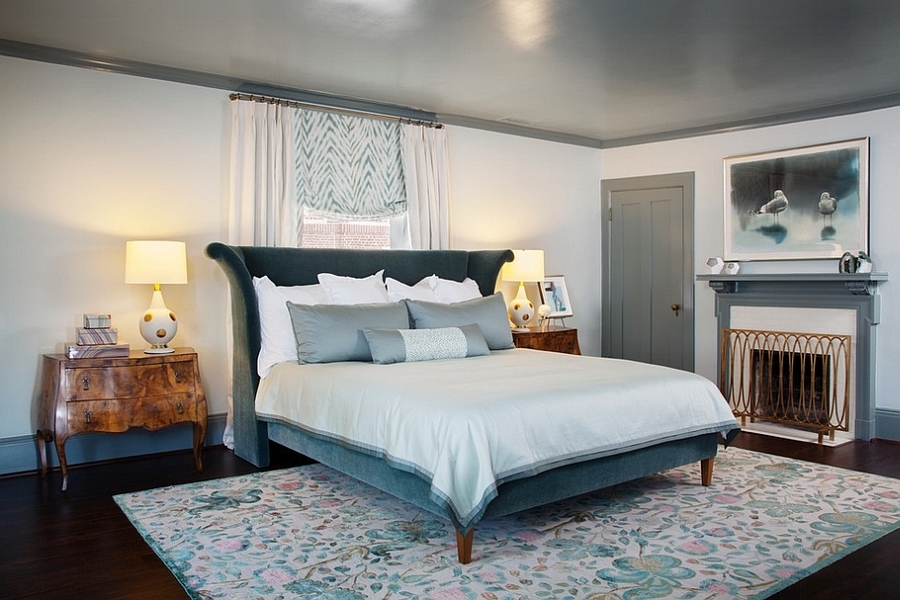 Stylish bed and French inspired motifs give the room a distinct look [Design: Melanie Coddington]