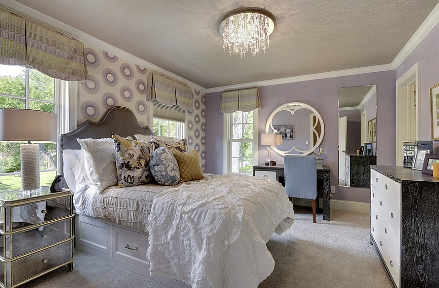 Stylish bedroom has a distinct feminine vibe [Design: Great Neighborhood Homes]