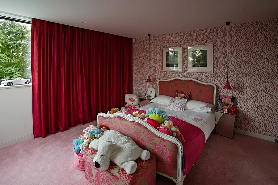 Stylish girl's bedroom in pink and red