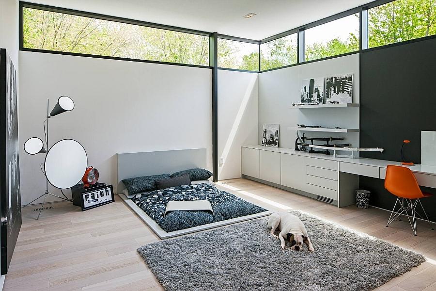 Sunken bed design gives the bedroom an ultra-minimal appeal