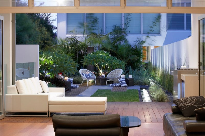 Sydney living room with a backyard view