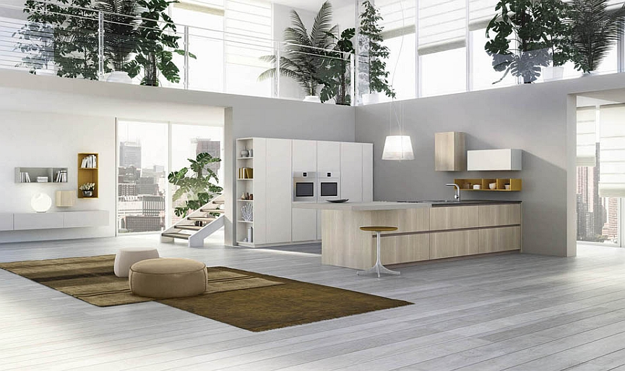 Trendy contemporary kitchen seems like a natural extension of the living space