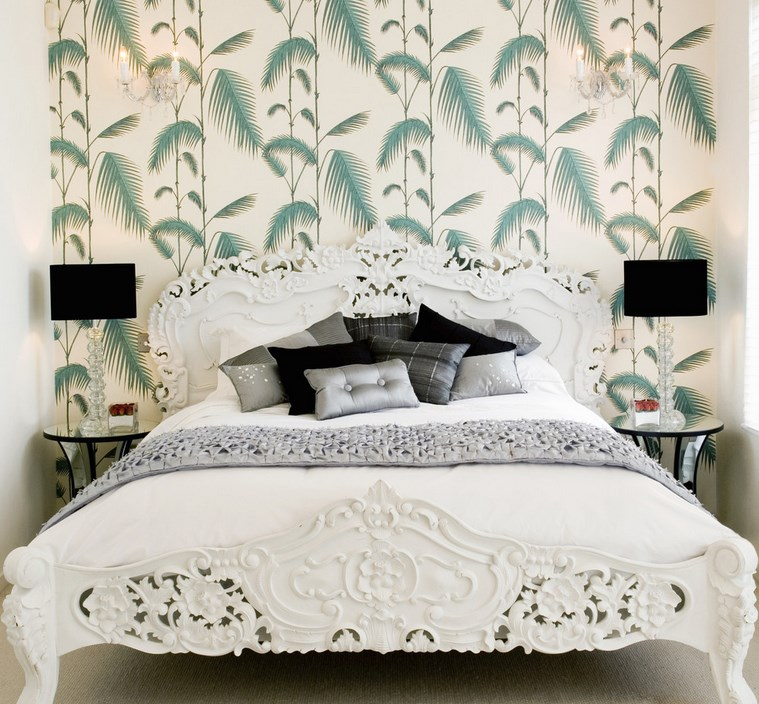 Tropical bedroom with palm leaf wallpaper