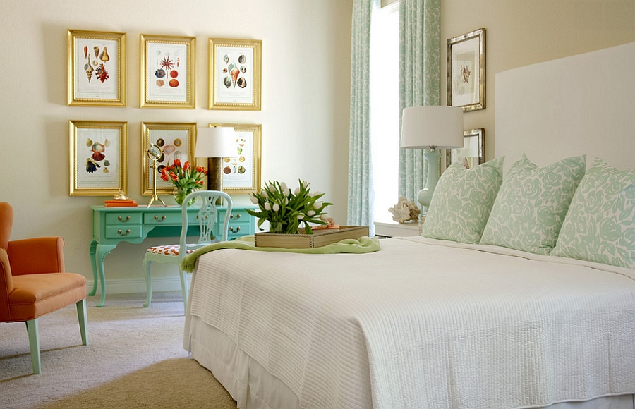 Turquoise and Coral are trendy colors to use in the bedroom [Design: Tobi Fairley Interior Design]