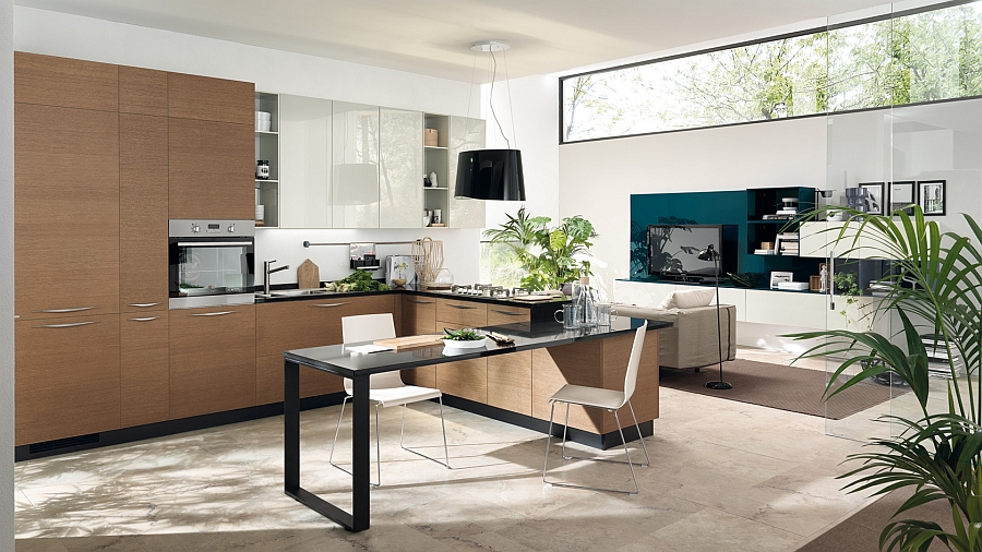Versatile kitchen and living room compositions create a dynamic home environment