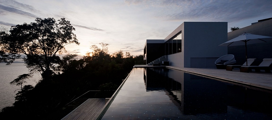 View of the Sunset at the posh private residence in Phuket from the private deck
