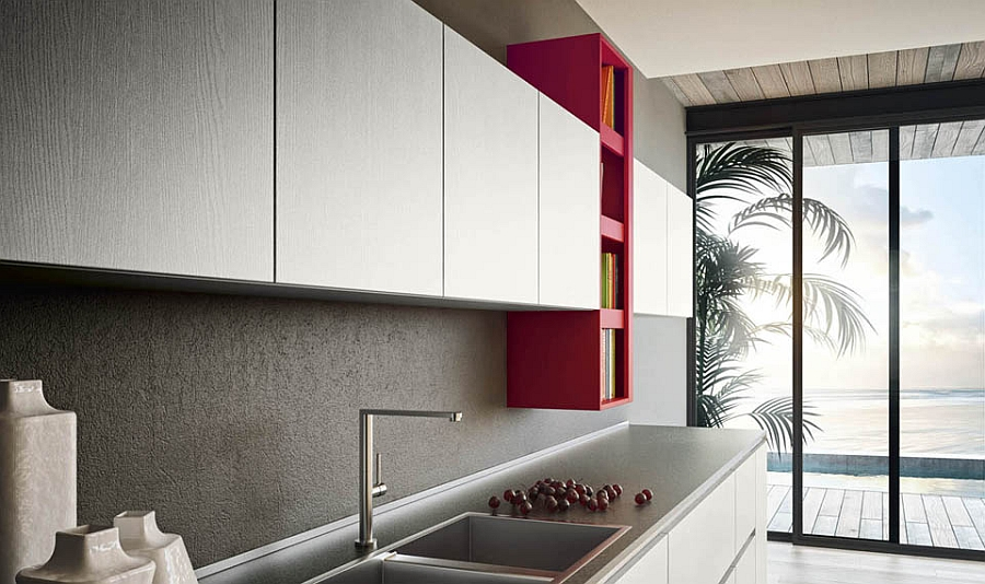 Wall-mounted cabinets expand the storage space in the kitchen