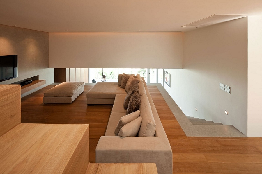 Wood adds warmth to the beautiful family room