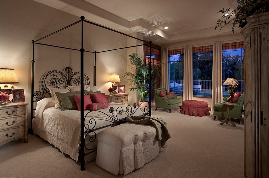 A bed that steals the show in the Mediterranean style room! [Design: Ernesto Garcia Design]