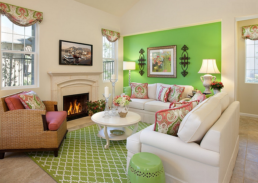 View In Gallery A Bold Splash Of Green In The Living Room [Design: Borden  Interiors U0026 Associates Part 85