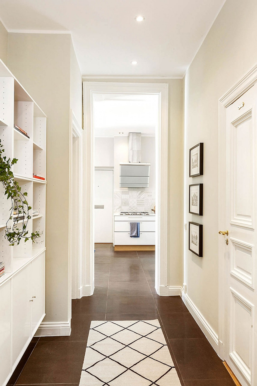 A change in flooring can be used to demarcate different areas in a subtle fashion
