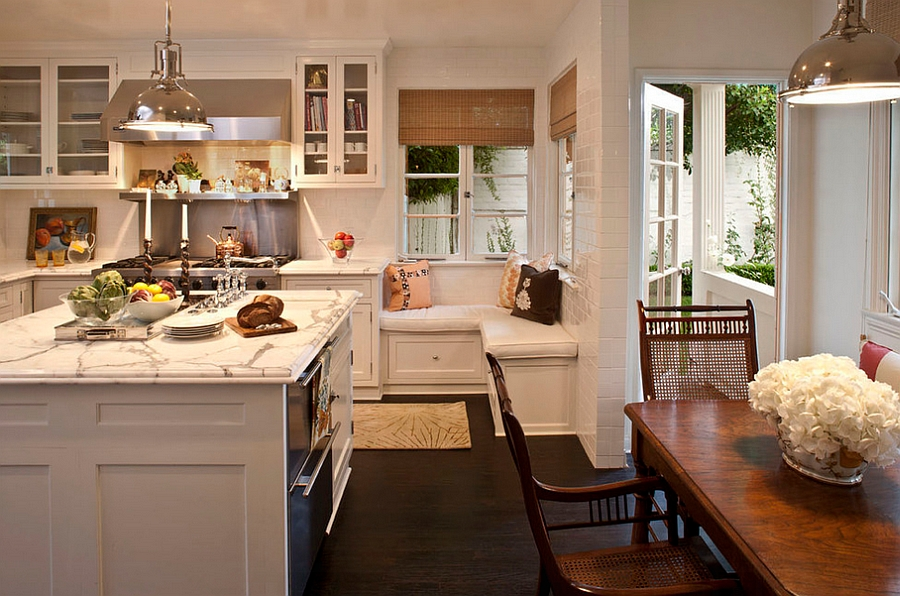 A cozy bench in the corner of a traditional kitchen [Design: Jeneration Interiors]