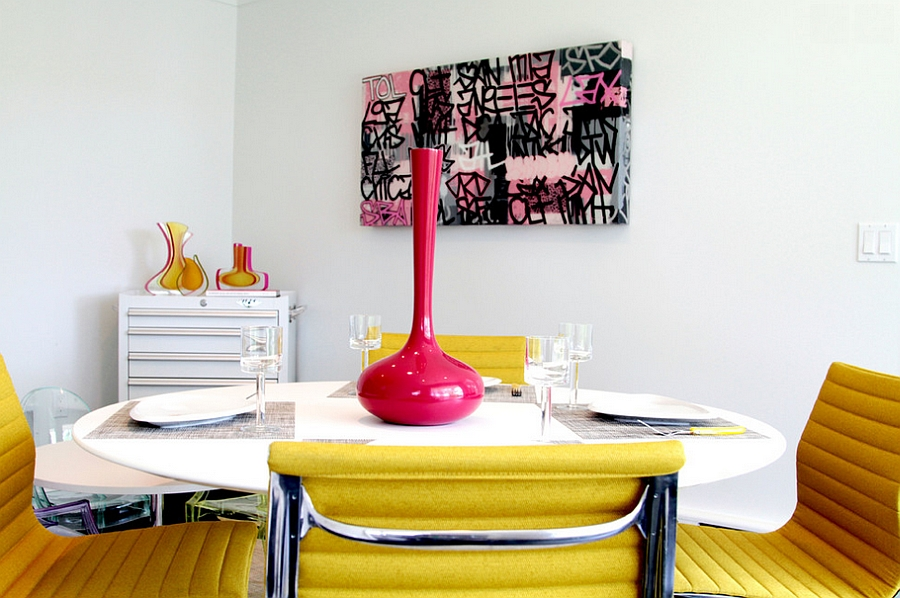 A fun and stylish graffiti piece for the posh, modern dining room [Jeff Jones Snap It Photography]