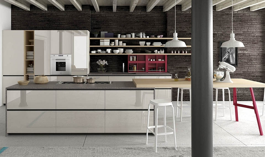 A hint of red enlivens the smart, efficinet modern kitchen