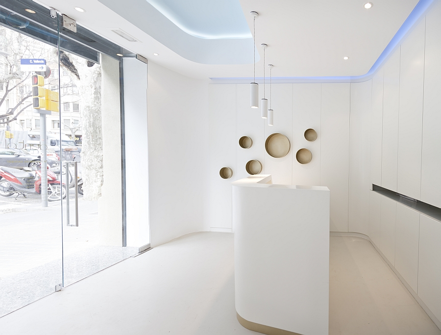 A look at the entrance of the stylish Dental Office with contemporary design Refined Elegance Meets Functional Style At Dental Angels In Barcelona