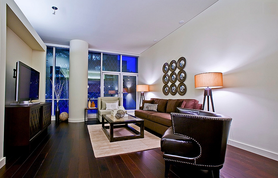 A touch of leather quickly gives a room the masculine vibe [From: Pilar Calleja - Draw The Line Design]