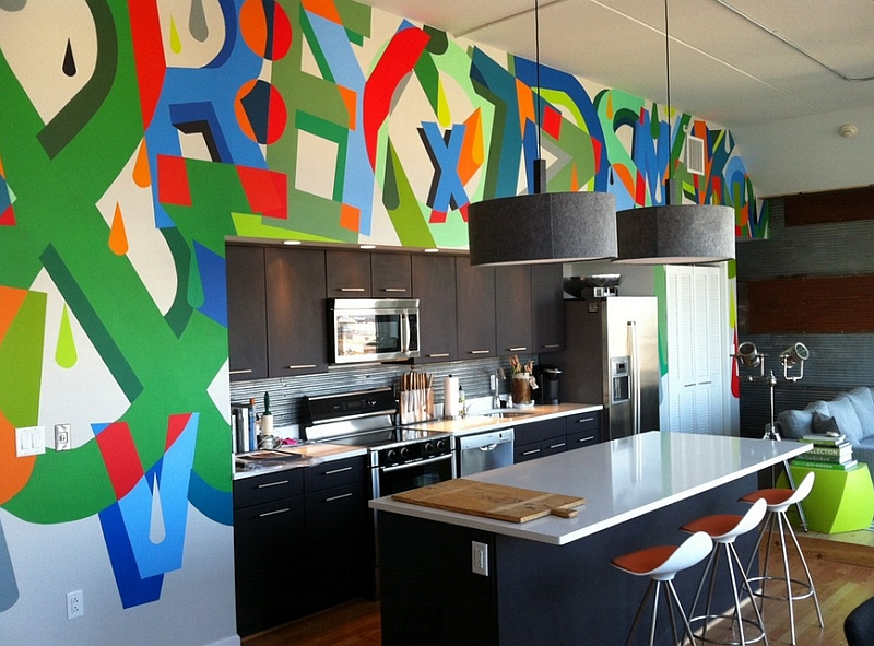 Add a splash of color to the kitchen with the graffiti wall [Design: Groundswell Design Group]