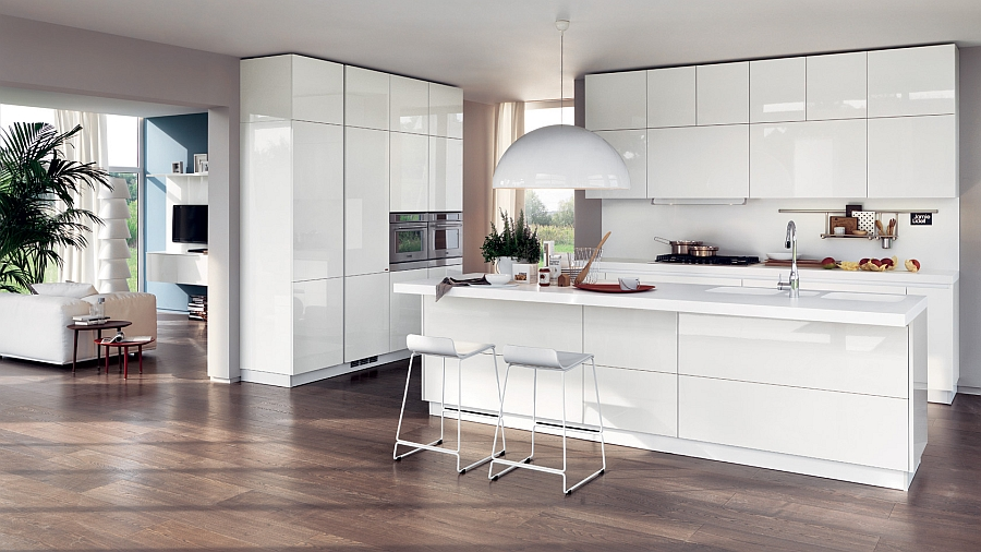 All white contemporary kitchen with minimal style