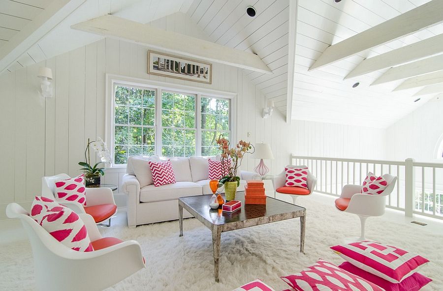 ... An All White Backdrop And Plush Rug Bring In The Feminine Appeal  [Design: