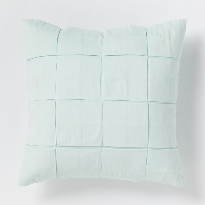 Aqua grid pillow from West Elm