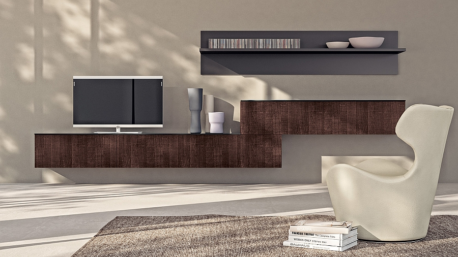 Asymmetric living area composition with oak finish