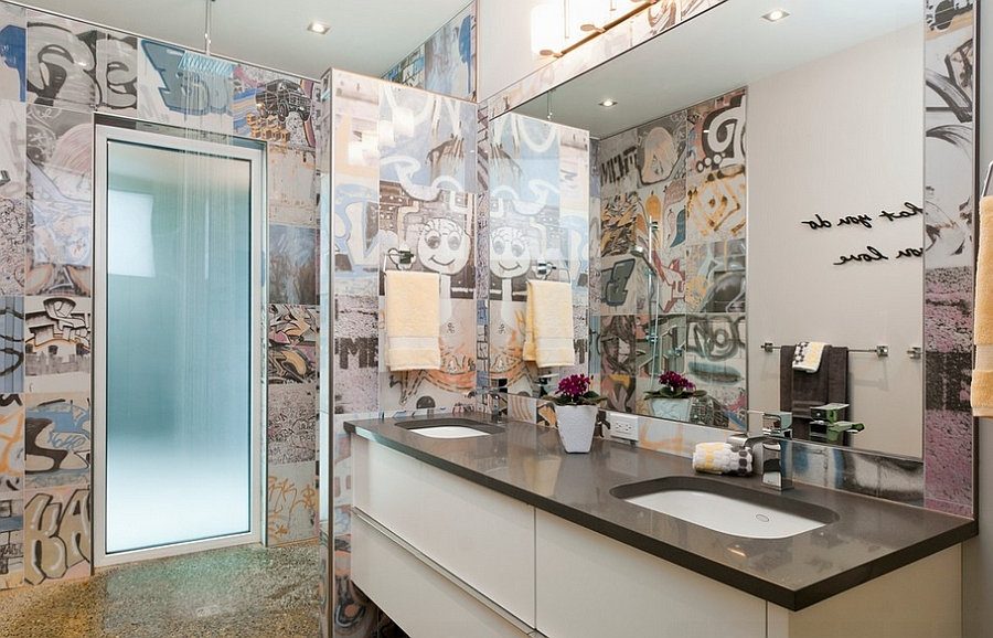 Banksy Tile brings graffiti to the contemporary bathroom [Design: NZ Builders]