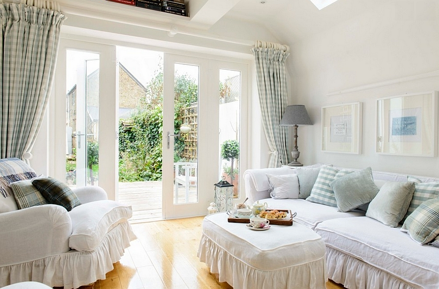 Beach style living room with feminine flair! [Design: Whitstable Island Interiors]