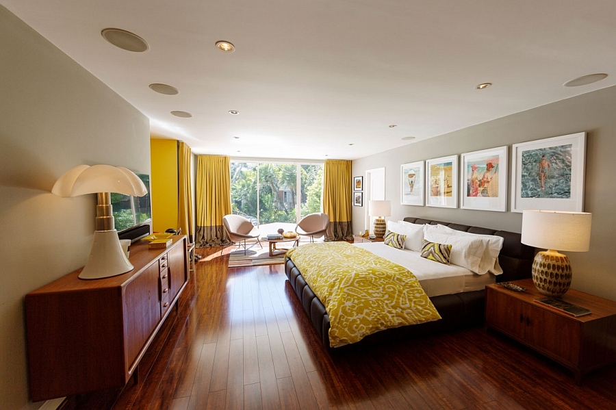 Beautiful bedroom in yellow, gray and chocolate