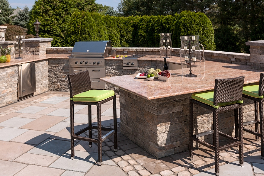 Beautiful outdoor kitchen with smart bar stools from Source Oudtoor