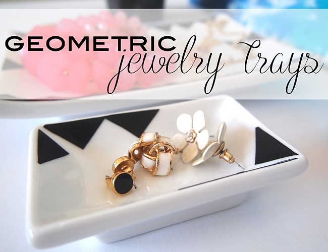 Black and white geometric jewelry tray DIY