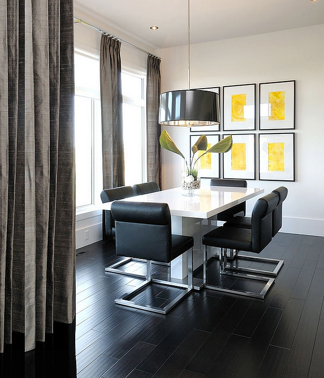 Black floor adds to the appeal of this posh dining room [From: Atmosphere Interior Design]