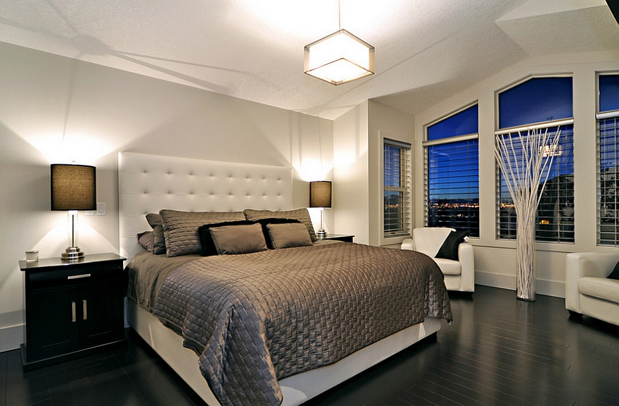 Black floor coupled with white walls in the contemporary bedroom [Design: Jordan Lotoski]
