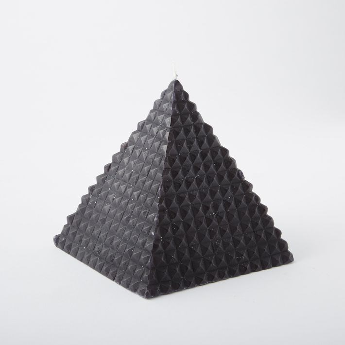 Black geo pyramid candle