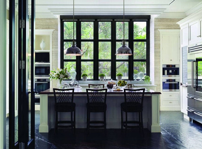 Black slate flooring in the kitchen is both sophisticated and trendy [From: World Architecture News]