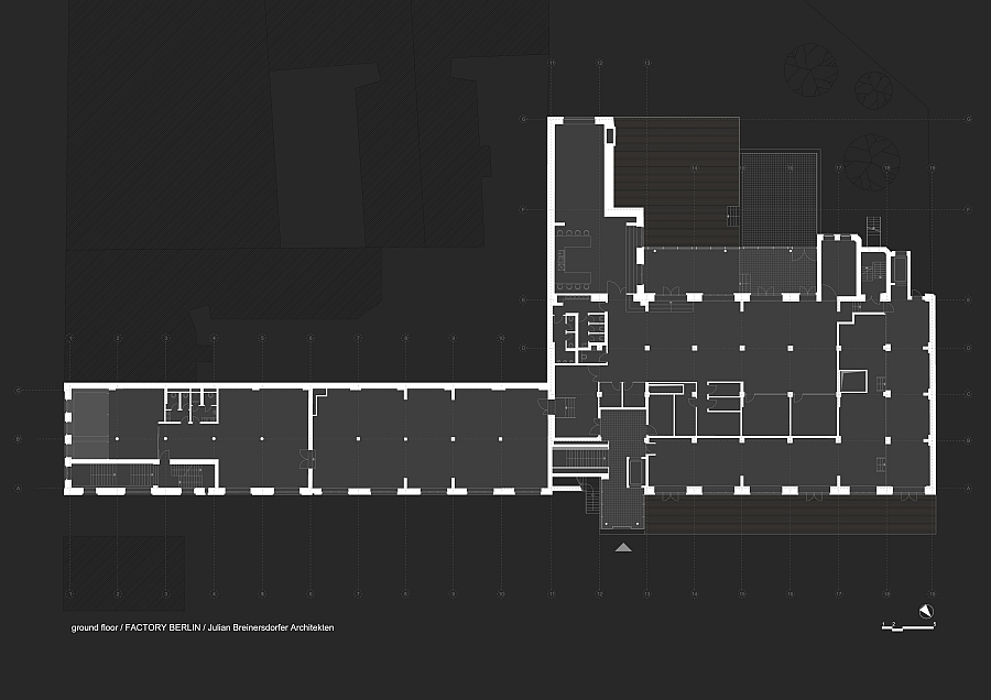 Blueprint of the ground floor of Factory Berlin