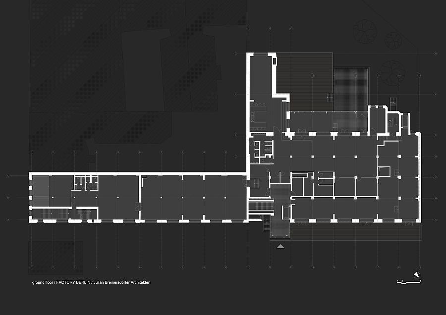 Blueprint of the ground floor of Factory Berlin