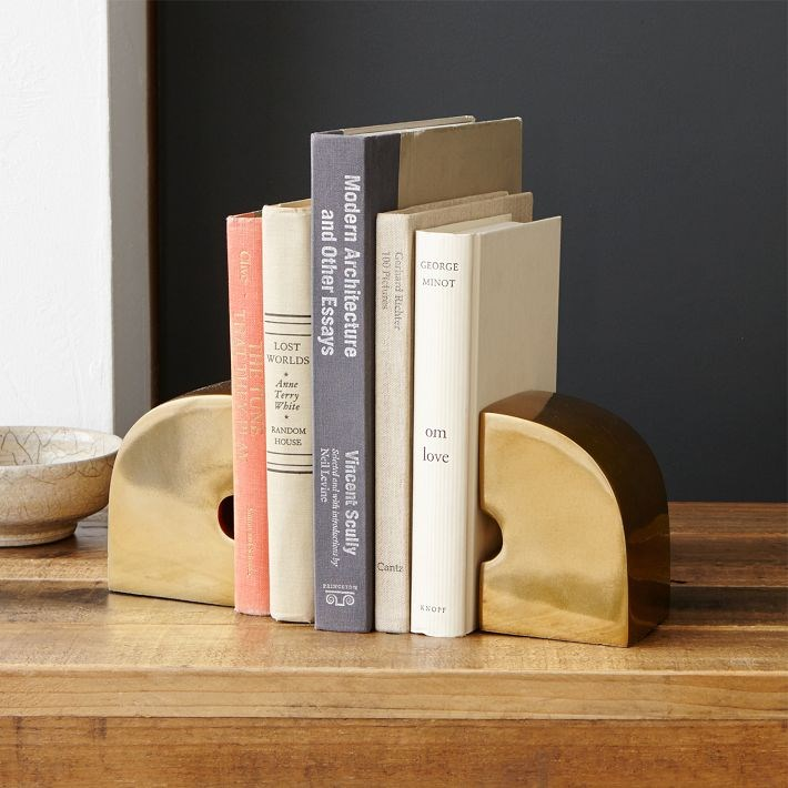 Brass geo bookends from West Elm