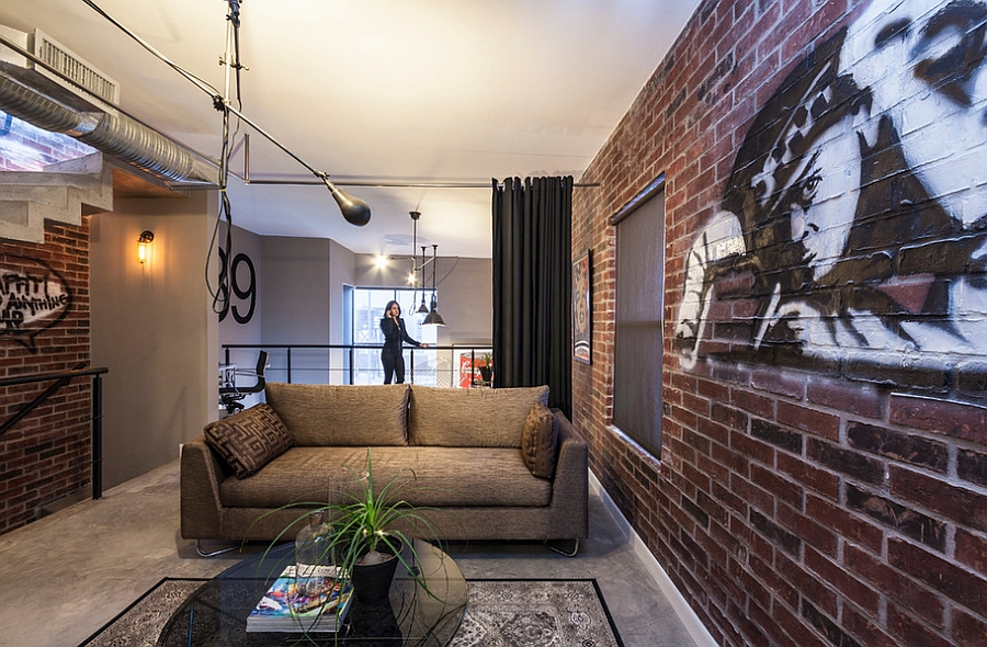 Brick walls offer the perfect backdrop for indoor graffiti
