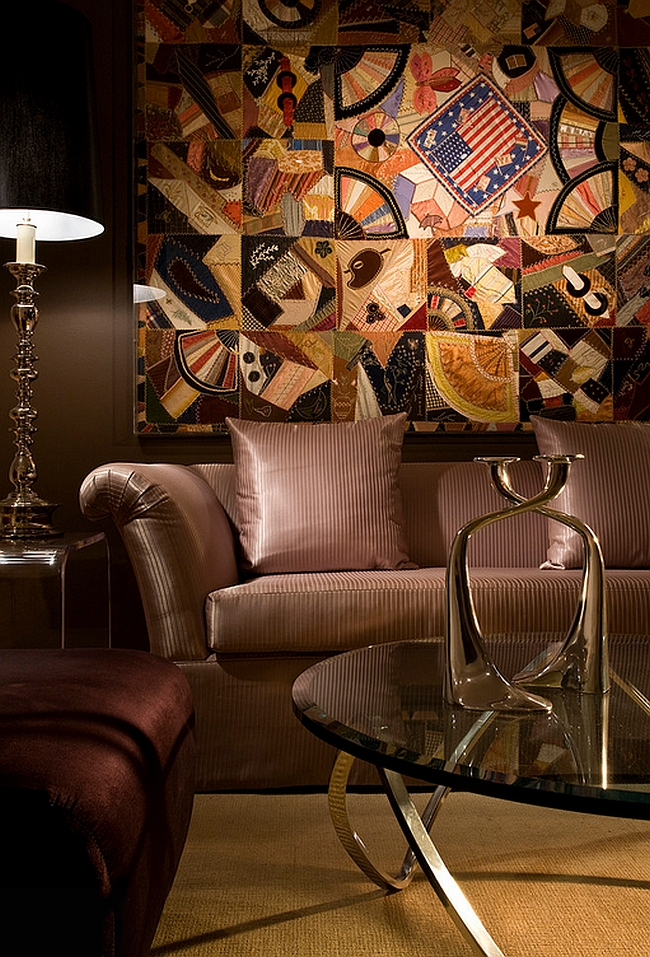 Brilliant wall art adds chic style to the posh living room [Photography: Craig Denis / Miguel Fernandez Architect]