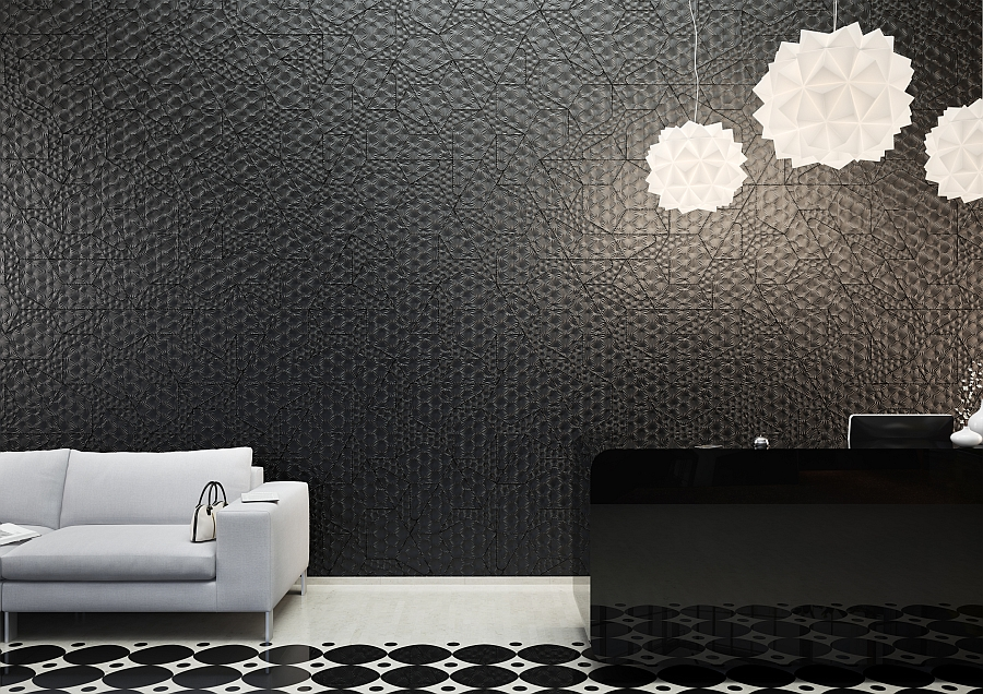 Burst Concrete Tile from Concurrent Constellations makes up the backdrop of the room