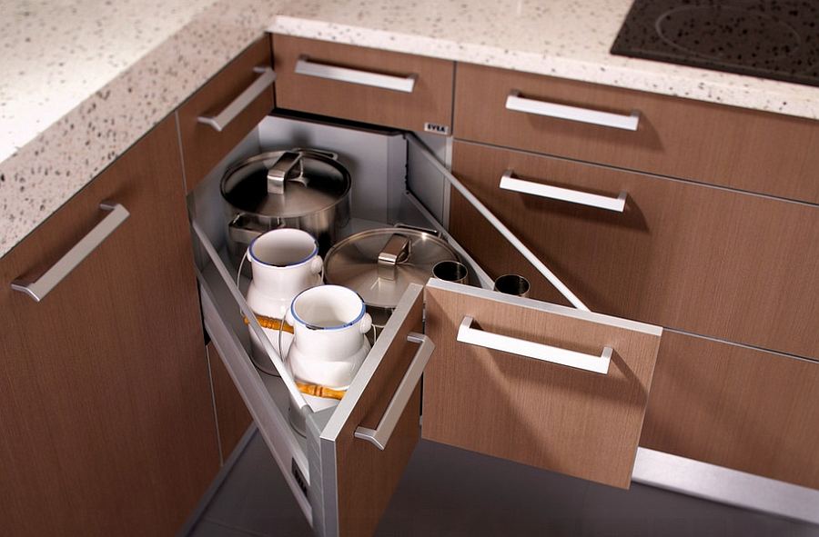 Butterfly corner drawers offer additional storage space [Design: Seva Kitchens]