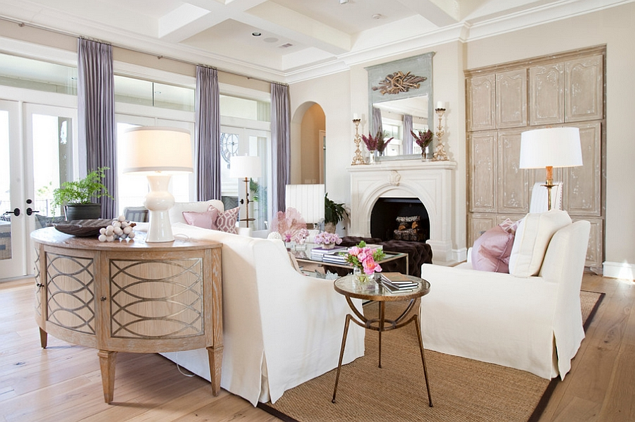Cheerful And Serene Modern Feminine Living Room Design Dodson Interiors
