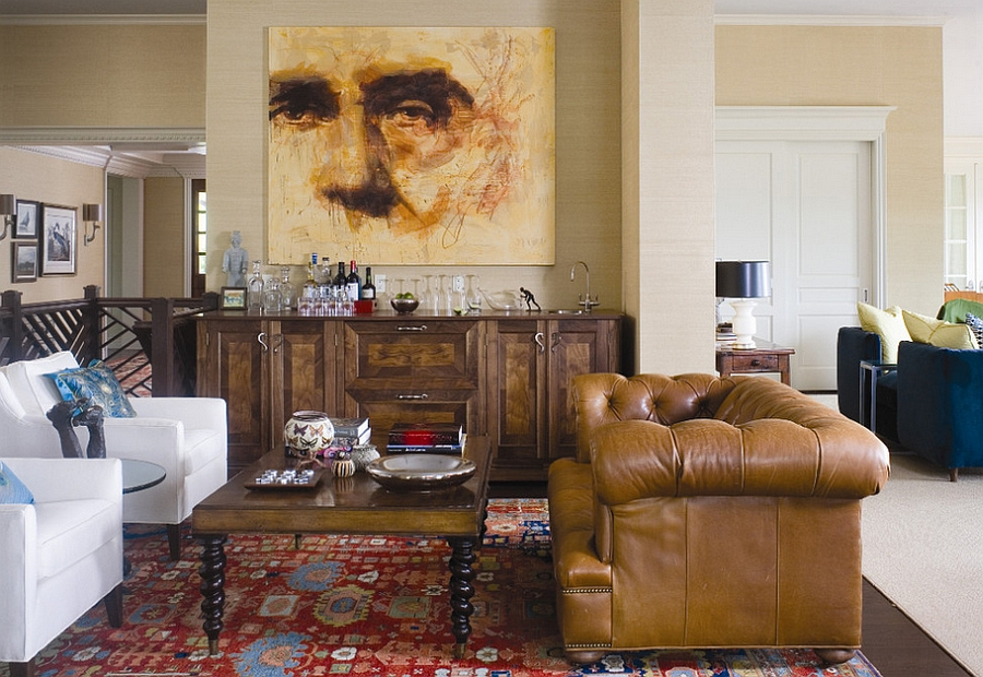 Chesterfield sofa is a great choice for the masculine living room [Design: Andrea Schumacher Interiors]